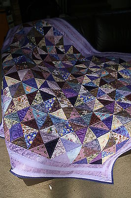 "Hand Made Quilt ""LAVENDER LADIES"" Design by Quilt-Addicts 67"" square"
