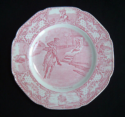 """Crown Ducal Colonial Times 9"""" lunch plate Paul Revere's Ride ~ Red Transferware"""