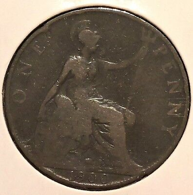 British Large Penny - 1900 - Queen Victoria - $1 Unlimited Shipping