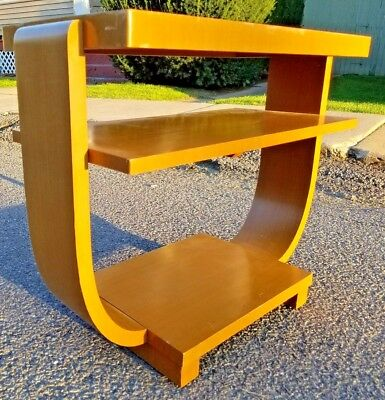Mid Century Modern 3 Tiered Art Deco Curved Sided Atomic Planter Coffee Table