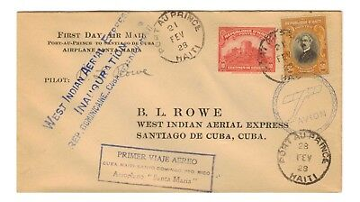 B L Rowe Signed Inaugural Flight Haiti   Feb 21, 1928