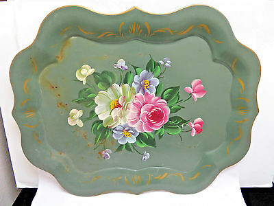 Vintage Large Hand Painted Green Floral Metal Tole Serving Tray rb21