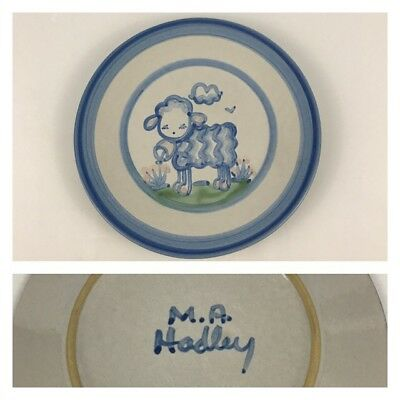 "M.A. Hadley Blue Lamb Sheep Country Scene 8 3/4"" Salad Dessert Plate Pottery"