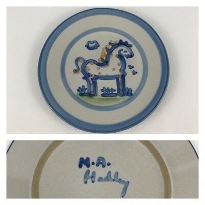 "M.A. Hadley Blue Horse Country Scene 8 3/4"" Salad Dessert Plate Pottery Pony"