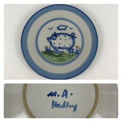 "M.A. Hadley Blue Pig Country Scene 8 3/4"" Salad Dessert Plate Pottery Hog"