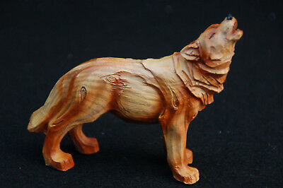"Wolf Carved Wood Look Figurine-- Poly Resin-- 4""L x 1""W x 3 3/4""H"