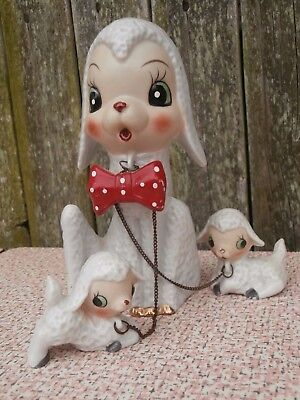 Vintage Japan Lambs with Mother Sheep Ceramic Figurines on Chains