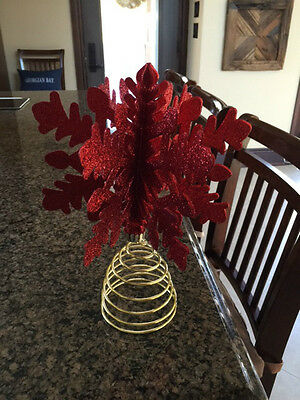tree topper snowflake red Christmas tree Holiday decor