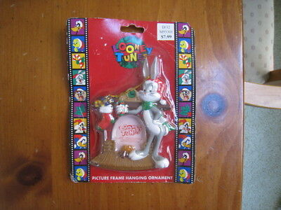 Looney Tunes Bugs Bunny Fireplace Stocking Picture Frame Christmas Ornament 1997