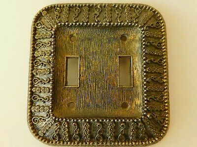 Vintage 1966 American Tack & Hardware Co Brass Light Switch Plate Cover - Double
