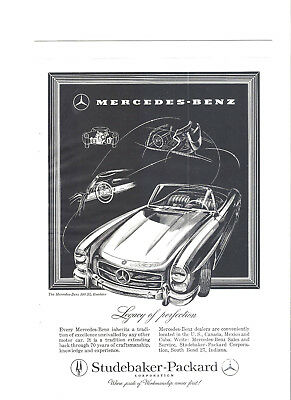 1957 MERCEDES-BENZ (Studebaker-Packard) BLACK and WHITE PRINT AD