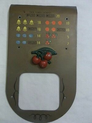 Slot Machine Parts Front Pay Card Plate Raised Cherry's