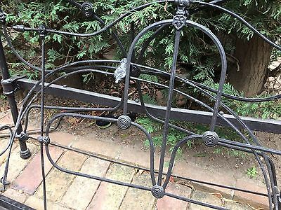 Vintage Victorian wrought iron half tester bed