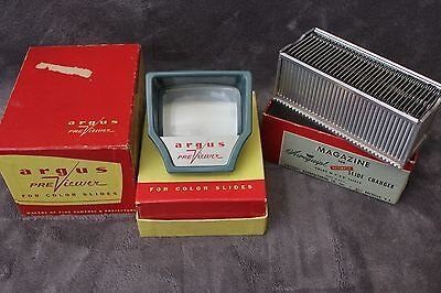 Vintage ARGUS Preview Color Slides Viewer With Box and Slide Magazine
