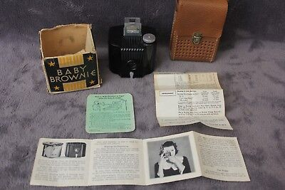 Vintage Baby Brownie Camera, Made in USA by Kodak Co. with box and manuals