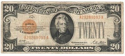 1928 $20.00 Gold Note, A-A Series, Woods/mellon, Very Fine Condition