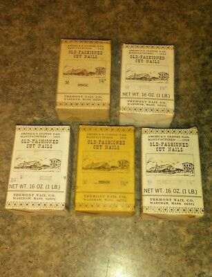 Lot of 5 boxes Tremont Nail Co. Old-Fashioned Cut Nails-5 different types