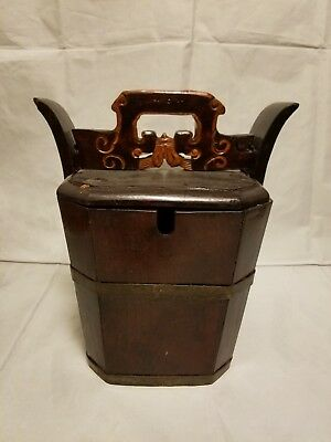 ANTIQUE Vintage Chinese Wood Wedding BASKET Box Lunch Box