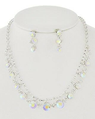 Formal Pageant Wedding Clear Aurora Borealis Round Crystals Fashion Necklace Set