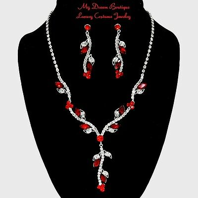 Wedding Pageant Ruby Red Marquise Floating Crystal Vine Fashion Necklace Set