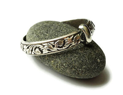 Outlander Wedding Ring - Sporran Key - Thistle - Solid Sterling .925 - Antiqued