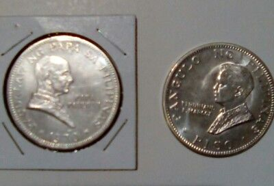 1970 Philippines 90% Silver  Piso ,pope Paul Vi+ Marcos.2 Coins Total