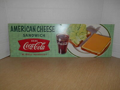 Vintage Coca Cola Cardboard Diner Sign With American Cheese Sandwich # I-494