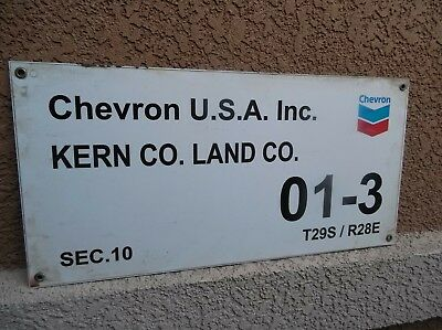 Nice Tin Chevron Oil Well Lease Gas Sign not Porcelain