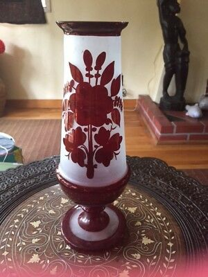 Antique Tall Copper Luster Ware Footed Vase w Frosted Glass Flowers Bird 11 3/4""