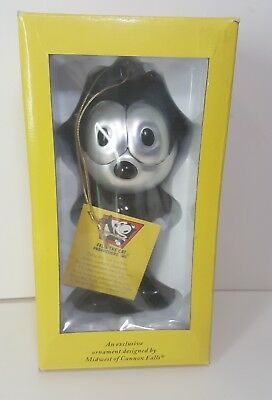 "NIB FELIX THE CAT 7&1/4"" GLASS ORNAMENT By Midwest of cannon falls Free Shipping"