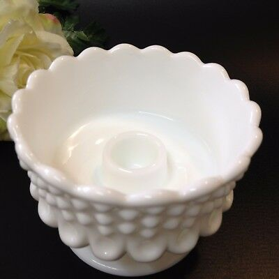 Fenton - Hobnail Milk Glass - Pedestal Candle Holder - 10cm Diameter