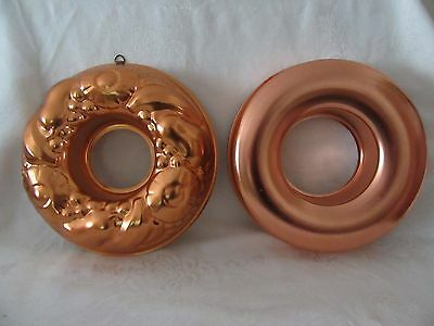 2 Copper color Aluminum Ring Molds - 1 plain, 1 decorative