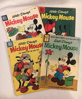 Lot of 4 Walt Disney's Mickey Mouse 50, 54, 56, 78 Dell Comic Books 1956 NICE !!