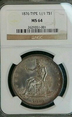1876 T$1 1//1 variety top pop Trade Dollar ngc MS 64 , scarce 1876 variety toned