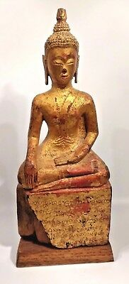 Antique Wooden Gilded Thai Buddha Bhumisparsha Mudra  18th-19th century