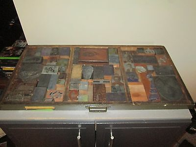 Vintage Wood Printers Tray With Many Blocks 32x17