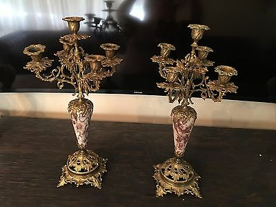 Antique Pair of French marble and gilt bronze Brass trimmed 5 Arm candelabra