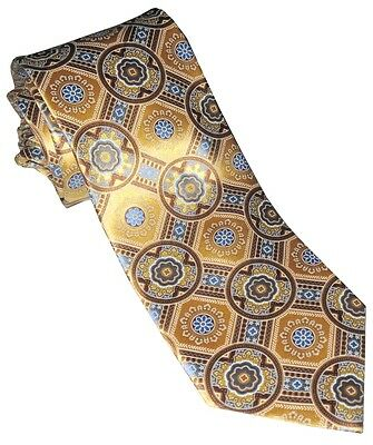 New Ermenegildo Zegna Yellow L Blue Medallions 100% Silk Mens Handmade Neck Tie