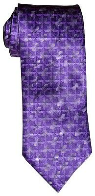$285 New Brioni Satin Purple Tones Fancy Geometric Handmade Silk Mens Neck Tie