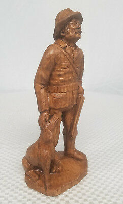 """8"""" Wood Carved Old Hunter with Shotgun and Hunting Dog"""