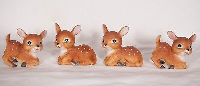 Homco Fawns Baby Deer  1473 Lot of 4