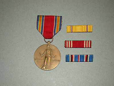 WWII 1941~1945 US ARMY CAMPAIGN VICTORY FREEDOMS MEDAL COIN w/RIBBON +3 BAR PINS