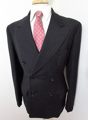 Vtg 1940s Double Breasted black suit jacket 36 R ~ GABARDINE blazer PINSTRIPE