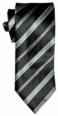 $285 New Brioni Satin Deep Green White Black Light Sage Silk Mens Neck Tie