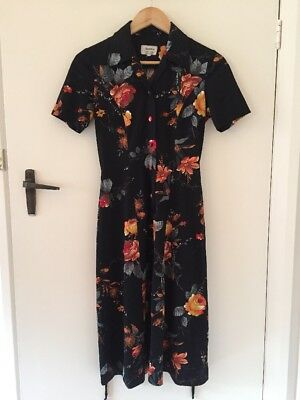 Vintage Retro Black Floral Collared Dress Size 8 'Goldie By Connie's Casuals'