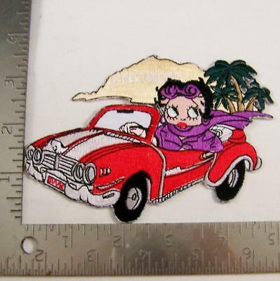 """Betty Boop Patch Sew Iron On 5"""" x 3.5"""" Hollywood Convertible Car Embroidered New"""