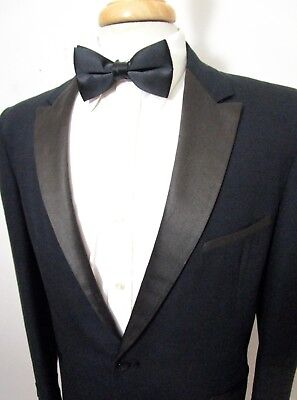 Vtg 1950s After Six Rockabilly TUXEDO JACKET 40 R ~ tux blazer SMOKING black
