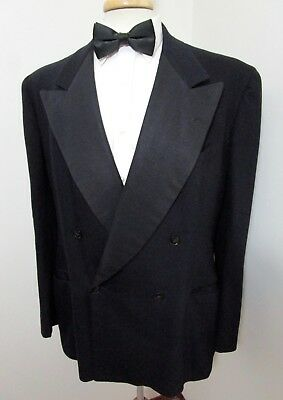 Vtg 1940s Double Breasted TUXEDO jacket 42 Long ~ tux BLACK wool UNION MADE EUC