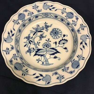 MEISSEN BLUE ONION 9-1/2in RIMMED SOUP PLATE/BOWL CROSSED SWORDS Ca. 1890