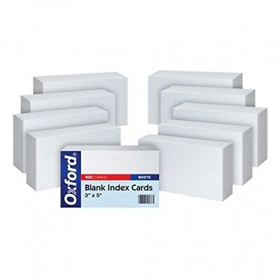 """Oxford Blank Index Cards, 3"""" x 5"""", White, 10 Packs of 100 (30)"""